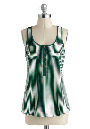 Up to the Stripe Top - Mid-length, Green, White, Stripes, Buttons, Casual, Tank top (2 thick straps), Racerback, Travel