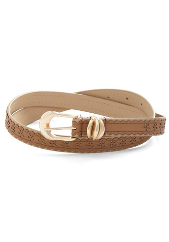 Countryside Bound Belt - Tan, Solid, Scallops, Eyelet, Faux Leather