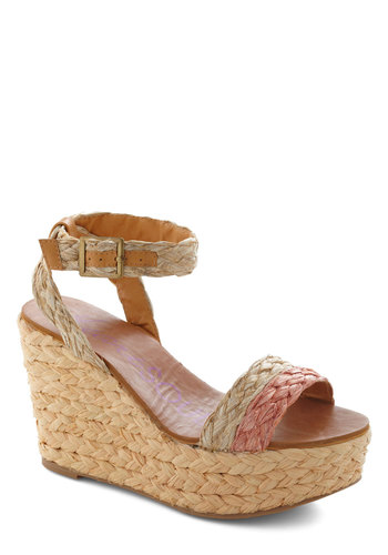 Woven Wonders of the World Wedge - Woven, Wedge, High, Tan, Pink, Braided, Daytime Party, Beach/Resort, Summer