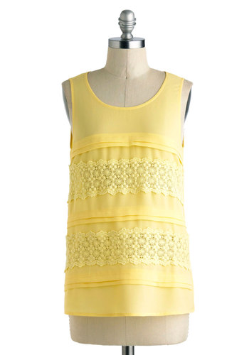 Le Marais of Sunshine Top - Yellow, Solid, Lace, Daytime Party, Sleeveless, Mid-length, Crochet, Casual, Sheer, Scoop, Pastel, Beach/Resort, Summer