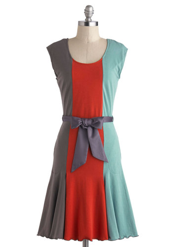 You've Got Moxie Dress in Multi by Effie's Heart - Mid-length, Red, Blue, Grey, Pockets, Ruffles, Belted, Party, A-line, Sleeveless, Scoop, Colorblocking