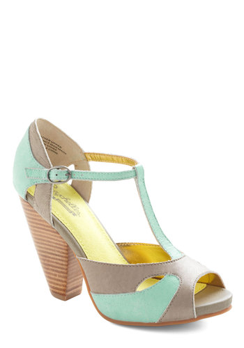 Apology Accepted Heel by Seychelles - Blue, Grey, Solid, High, Cutout, Peep Toe, Party, Pastel, Better, Chunky heel, T-Strap