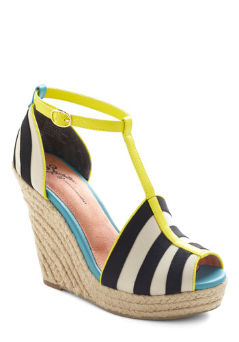 Stop Traffic Wedge by Seychelles - Black, White, Yellow, Stripes, High, Platform, Wedge, Espadrille, Summer, Party, Casual, Cocktail, Girls Night Out, Beach/Resort, Sundress, Best, Peep Toe, T-Strap