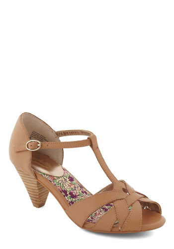 Found My Way Heel in Tan by Seychelles - Tan, Solid, Mid, Peep Toe, Cutout, Wedding, Party, Holiday Party, Leather, Better, T-Strap