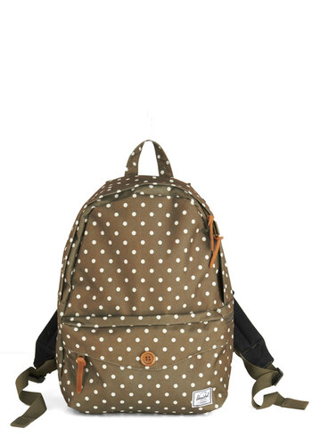 Setting Up Campus Backpack by Herschel Supply Co. - Green, White, Polka Dots, Pockets, 90s, Scholastic/Collegiate, Travel, Summer