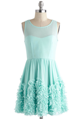 Crimpin' My Style Dress - Solid, Ruffles, Party, Fairytale, A-line, Sleeveless, Short, Mint, Prom, Pastel, Sheer, Graduation, Formal