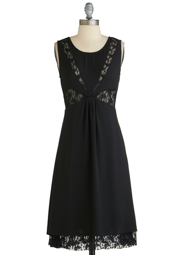 Speaker of the House Party Dress - Long, Black, Solid, Lace, Cocktail, A-line, Sleeveless, Scoop, Cutout, Party, Exclusives