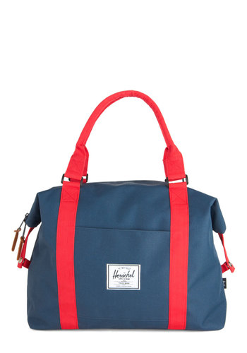 Places to Be Bag by Herschel Supply Co. - Blue, Red, Solid, Pockets, Work, Scholastic/Collegiate, Travel