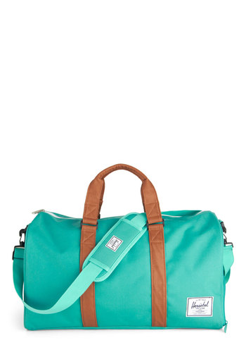 Emerald Waters Weekend Bag by Herschel Supply Co. - Blue, Brown, Pockets, Travel