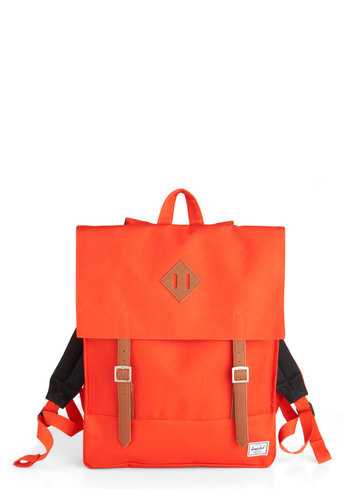 Bicycle Commute Backpack by Herschel Supply Co. - Orange, Tan / Cream, Solid