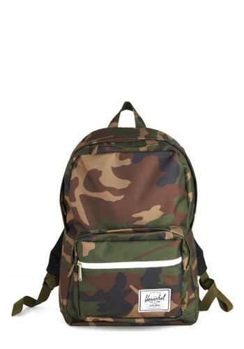 Weekday Woodsy Backpack by Herschel Supply Co. - Green, Multi, Print, Travel, Scholastic/Collegiate, 90s, Military
