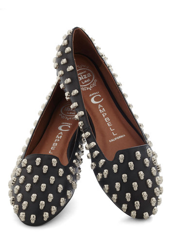 Business Skulls Flat by Jeffrey Campbell - Black, Silver, Studs, Casual, Urban, Statement, Leather, Flat