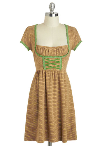 Time To Stein Dress by Blutsgeschwister - International Designer, Short, Brown, Yellow, Green, Polka Dots, Casual, A-line, Short Sleeves