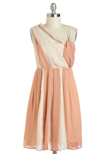 Come What Maypole Dress by Ryu - Tan / Cream, Pleats, Daytime Party, A-line, Mid-length, Pink, Wedding, Fairytale, Prom, Bridesmaid