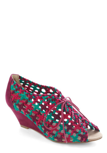 BFFete Wedge - Purple, Multi, Woven, Wedge, Lace Up, International Designer, Mid, Daytime Party