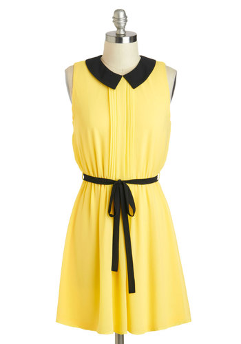 Worker Bee Dress - Short, Yellow, Black, Solid, Peter Pan Collar, Belted, Casual, A-line, Sleeveless, Collared