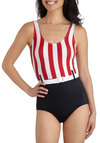 Umbrella Time One Piece by Bettie Page - Red, Black, White, Stripes, Belted, Beach/Resort, Rockabilly, Pinup, Vintage Inspired, 50s, Tank top (2 thick straps), Summer