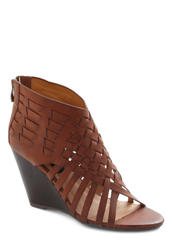 Contemporary Crafter Heel - Brown, Solid, Woven, Wedge, Peep Toe, Mid, Faux Leather, Daytime Party, Beach/Resort, Boho, Vintage Inspired, 70s