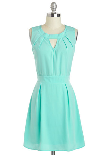 Meeting and Greet Dress - Short, Blue, Solid, Cutout, Pleats, Casual, A-line, Sleeveless, Crew, Spring, Summer