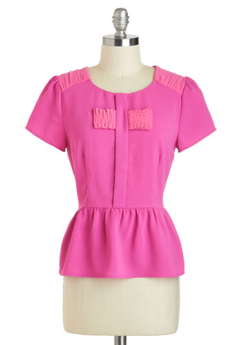 Professional Femme Top - Short, Pink, Solid, Work, Peplum, Short Sleeves, Ruffles, Scoop