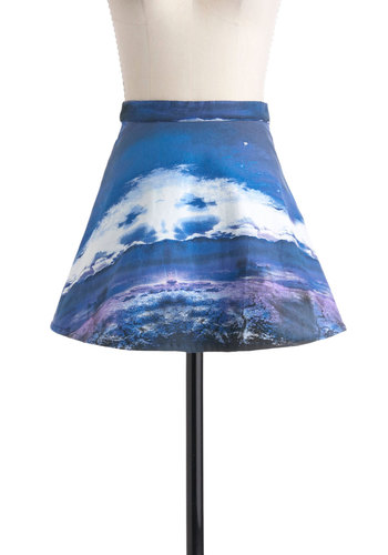 Panoramic Outlook Skirt by Motel - International Designer, Short, Blue, Purple, Party, A-line, Novelty Print, Girls Night Out, Urban
