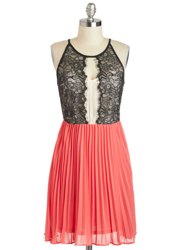 Dancing Darling Dress - Tan / Cream, Black, Lace, Pleats, Sleeveless, Short, Pink, Party, A-line, Scoop, Prom