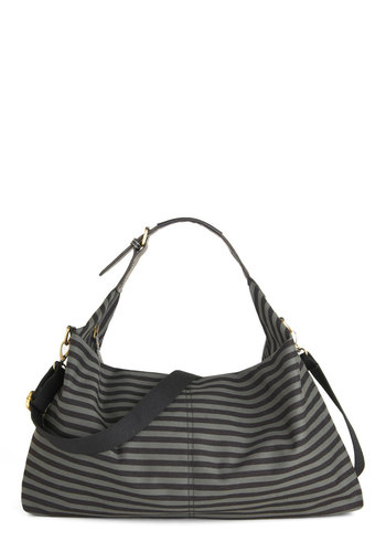 Make a Day of It Bag - Black, Grey, Stripes, Cotton, Casual
