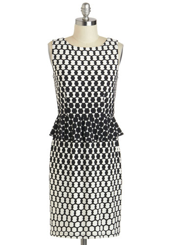 Networking Executive Dress - White, Polka Dots, Party, Vintage Inspired, 50s, 60s, Shift, Sleeveless, Spring, Mid-length, Black, Peplum, Work