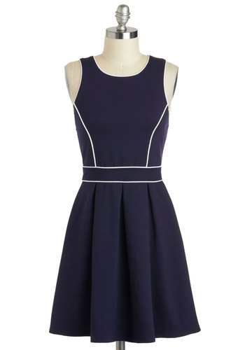 Drafting Table Dress - Blue, Nautical, Trim, Exposed zipper, Short, White, Solid, Pleats, Casual, A-line, Sleeveless, Crew