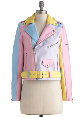 A Spin Around the Colorblock Jacket - Multi, Yellow, Blue, Purple, Pink, Solid, Party, Vintage Inspired, 80s, Pastel, Long Sleeve, 2, Short, Luxe, Urban, Colorblocking, Statement