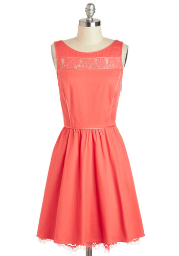 Rachel's Smile Be There Dress - Mid-length, Coral, Solid, Lace, A-line, Tank top (2 thick straps), Boat, Pockets, Cotton, Sheer, Daytime Party, Wedding, Graduation, Bridesmaid