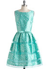 Rosé Bubbly Dress in Mint - White, Polka Dots, Bows, Belted, Special Occasion, Prom, Vintage Inspired, 50s, Fit & Flare, Sleeveless, Spring, Mint, Wedding, Mid-length, Luxe, Pastel, Bridesmaid