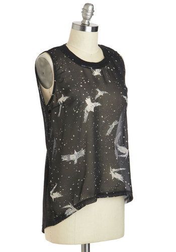 Spread Your Wingspan Top - Mid-length, Black, Print with Animals, Casual, Sleeveless, Sheer, Summer