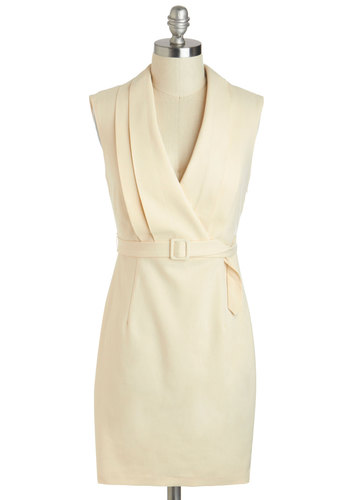 Jetsetter Journalist Dress - Short, Cream, Solid, Belted, Work, Sheath / Shift, Sleeveless, V Neck