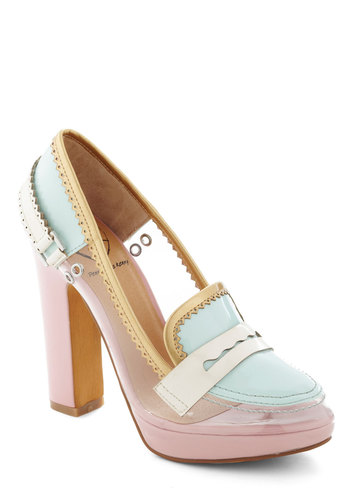 Cotton Candy Chic Heel - Pink, Mint, Multi, Solid, Cutout, Pastel, High