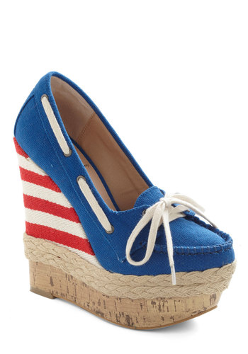 Port Your Heart Into It Wedge - Blue, Red, Tan / Cream, Solid, Stripes, Braided, Wedge, Espadrille, High, Beach/Resort, Nautical, Summer