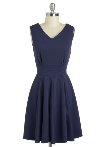 Who Could Be Blue? Dress - Mid-length, Blue, Solid, Exposed zipper, Casual, A-line, Sleeveless, V Neck, Work