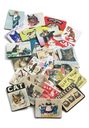 Fur-romagnet Set in Cats - Multi, Vintage Inspired, Print with Animals, Dorm Decor, Cats, Good
