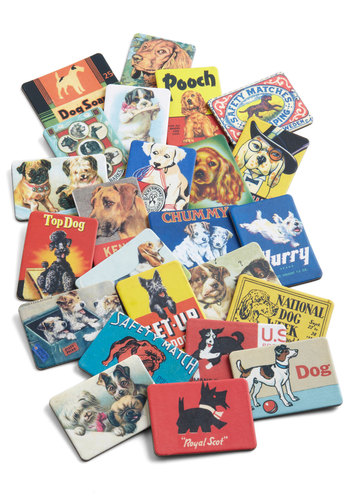 Fur-romagnet Set in Dogs by Cavallini & Co. - Multi, Vintage Inspired, Dorm Decor, Good