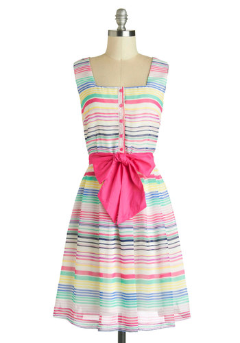Color Inside the Lines Dress - Mid-length, Multi, Stripes, Buttons, Pockets, Belted, Casual, A-line, Sleeveless, Daytime Party, Pastel, Spring, Summer