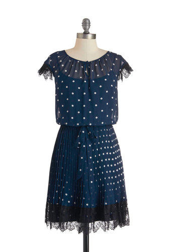 Dining Car Darling Dress - Polka Dots, Mid-length, Black, White, Lace, Belted, Cocktail, Cap Sleeves, Scoop, Blue, Pleats, Wedding, Vintage Inspired, Luxe, A-line, Prom, Bridesmaid, 20s