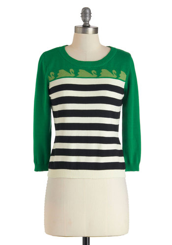 Swan to Watch Sweater by Knitted Dove - Multi, Green, Black, White, Stripes, Casual, 3/4 Sleeve, Cotton, Short, Print with Animals, Work