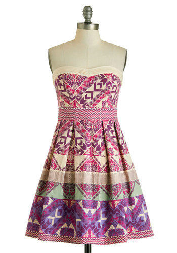 Stepping Out in Snowmass Dress - Short, Purple, Multi, Print, Pleats, Daytime Party, A-line, Strapless, Sweetheart, Chevron, Summer