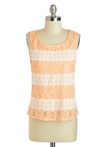 Tasty Techniques Top - Tan / Cream, Solid, Lace, Daytime Party, Sleeveless, Short, Orange, Summer