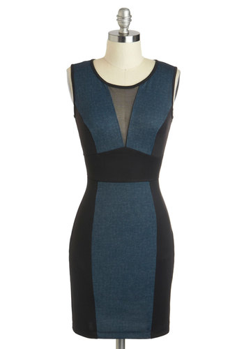 Dancing Dynamo Dress - Short, Blue, Black, Girls Night Out, Bodycon / Bandage, Sleeveless, Scoop, Cutout, Colorblocking, Sheer