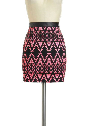 Geocache Me If You Can Skirt by Motel - International Designer, Pink, Black, Print, Party, Girls Night Out, Mini, Bodycon / Bandage, Short, Exposed zipper