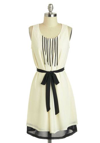 Do Re Meeting Dress in Cream - Black, Casual, A-line, Tank top (2 thick straps), Mid-length, Belted, Stripes, Cream, Summer