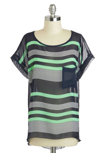 From the Surf to the Moon Top - Mid-length, Multi, Green, Blue, Stripes, Pockets, Casual, Short Sleeves, Sheer, Scoop, Travel