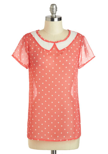 Sheer Wonder Top - Mid-length, Coral, White, Polka Dots, Peter Pan Collar, Work, Vintage Inspired, Short Sleeves, Casual, 60s, Sheer, Crew, Summer