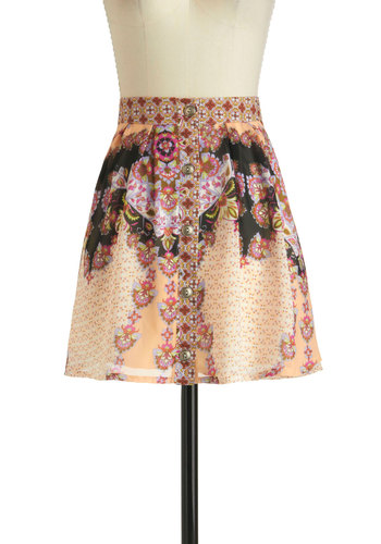 Mainstage Emcee Skirt - Multi, Print, Buttons, Short, Casual, Boho, A-line